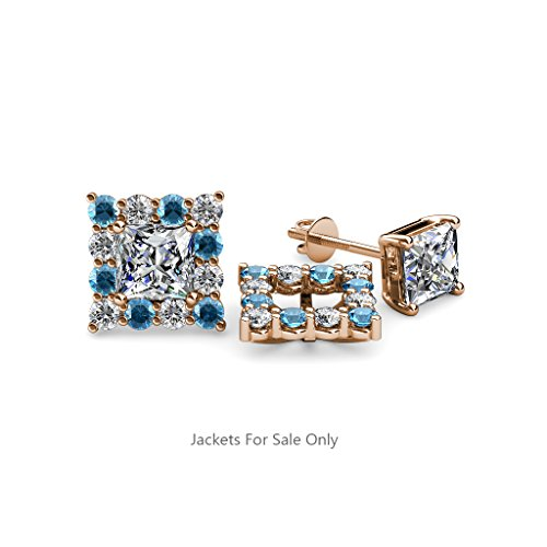 Blue Topaz and Diamond (SI2-I1,G-H) Halo Jacket for Princess Cut Stud Earrings 0.78 ct tw 14K Rose Gold