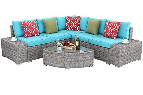 Do4U 6 PCs Outdoor Patio PE Rattan Wicker Sofa Sectional Furniture Set Conversation Set- Thick Seat Cushions & Glass Coffee Table| Patio, Backyard, Pool| Steel Frame (Turquoise) -  - patio-furniture, patio, conversation-sets - 4194QmCUSoL -
