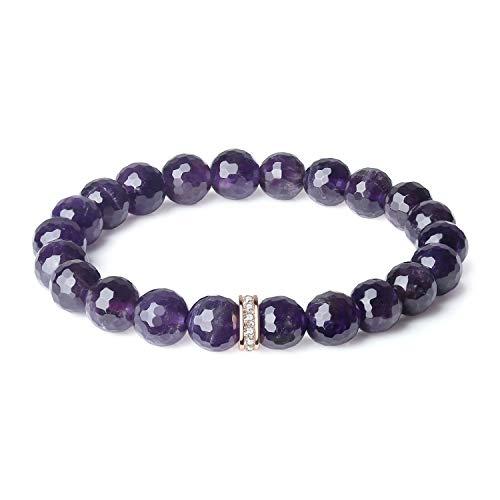 OKIKO Womens Chakra Bracelet Rose Quartz/Amazonite/Turquoise Healing Power Boho Gemstone Charm Handmade Jewelry (Bracelet Bead Amethyst)