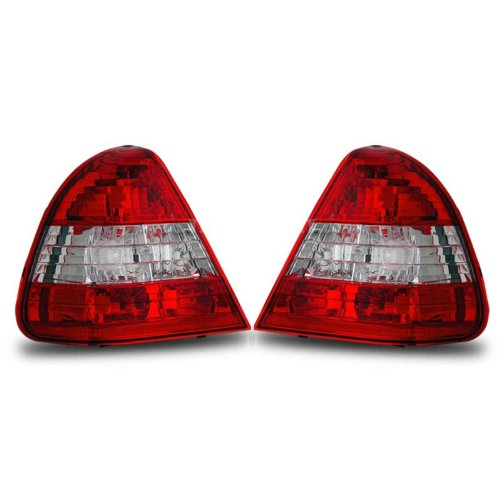 SPPC Taillights Red/Clear Assembly Set for Mercedes Benz C Class W202 - (Pair) Driver Left and Passenger Right Side Replacement