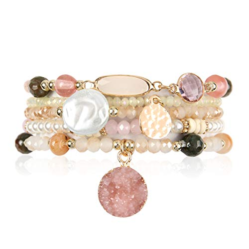 RIAH FASHION Bohemian Versatile Multi-Layer Bead Statement Bracelet - Stretch Strand Stackable Cuff Bangle Set Sparkly Crystal, Acrylic Druzy, Pave Fireball (Acrylic Druzy Dangle & Jewel Mix - Pink)