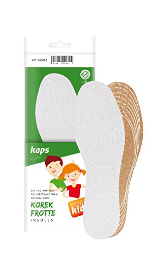 Kaps Cork Frotte Kids, terry cloth and cork shoe insoles for children, freshness and hygiene, cut to size, cut to fit, all sizes, made in Europe, 1 pair