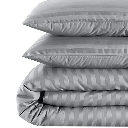 EnvioHome 500 Thread Count Cotton Sateen Damask Stripe Duvet Cover Set - 3 Piece - King, Platinum Grey (White And Damask Grey Bedding)