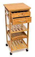 Lipper International Bamboo Space Saving Cart, Brown