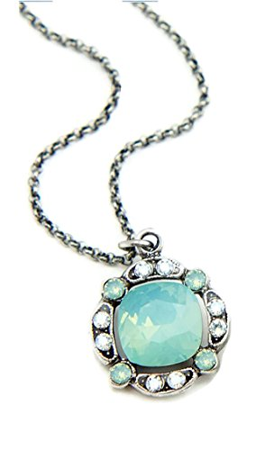 Anne Koplik Pacific Green Swarovski Crystal Pendant Necklace N001 ()