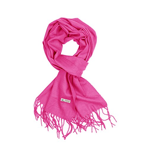 TZ Promise Plain Solid Color Cashmere Feel Classic Soft Luxurious Winter Scarf For Men Women (Hot Pink)