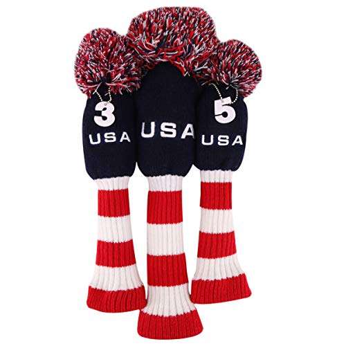 (USA Stripes Red White Blue Knit Pom Pom Golf Club Head Covers Set Driver Fairway Wood Head Cover Headcovers (3pcs(#1,#3,#5)))