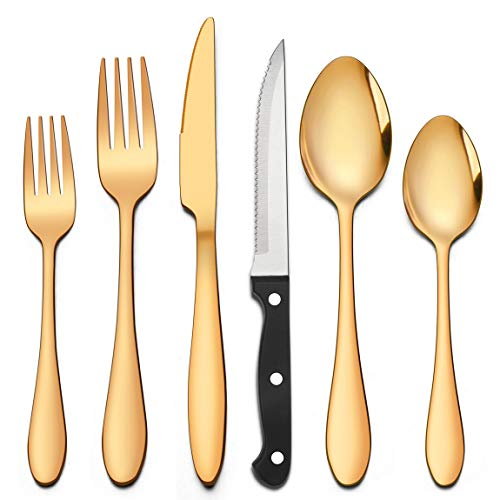 LIANYU 20-Piece Gold Silverware Set with 4 Steak Knives, Stainless Steel Flatware Cutlery Set for 4, Tableware Eating…