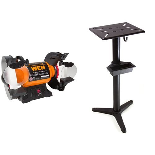 WEN 4286 8-Inch Slow Speed Bench Grinder and Pedestal stand with water pot