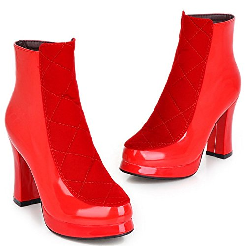 Asian Women's Boots Heel High TAOFFEN Ankle 34 Fashion Shoes Block Size Party Platform Red pwddOHqg
