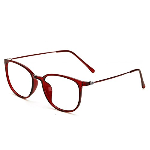 D.king Womens Fashion Oversized Horn Rimmed Clear Lens Round Circle Glasses Frames Eyeglasses - Red Glasses Rimmed