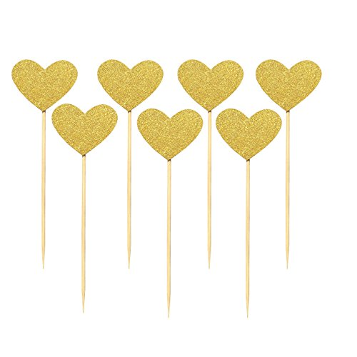Babycola's Mum 40PCS Best Heart Cupcake Toppers, Gold Glitter Heart Large Cupcake Toppers , Cake Decorations Toppers Picks for Wedding and Baby Birthday