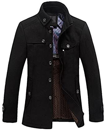 Youhan Men's Fitted Overcoat Cashmere Pea Coat at Amazon Men's ...