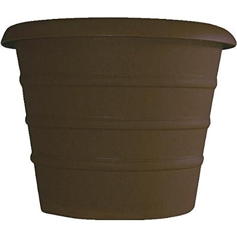 Akro Mils 12 Inch Marina Series Planter, Chocolate