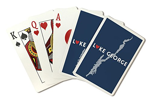 Lake George, New York - Heart Design (Playing Card Deck - 52 Card Poker Size with - Ny What George In Lake