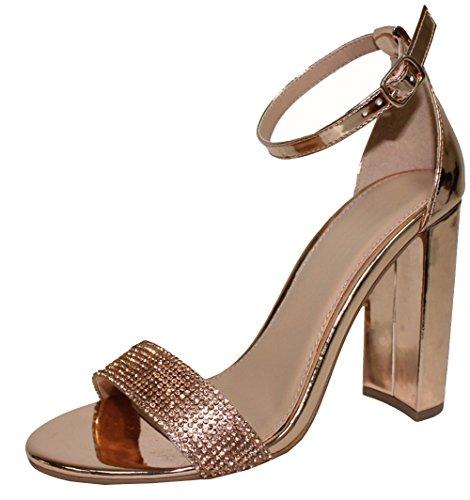 Cambridge Select Women's Open Toe Crystal Rhinestone Ankle Strappy Chunky Stacked Block Heel Dress Sandal (7.5 B(M) US, Rose Gold (Gold Dress Heels)