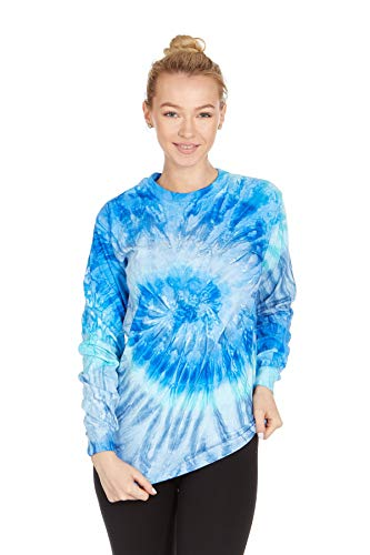 - DARESAY Tie Dye Style Long Sleeve T-Shirt, Blue Jerry, Large