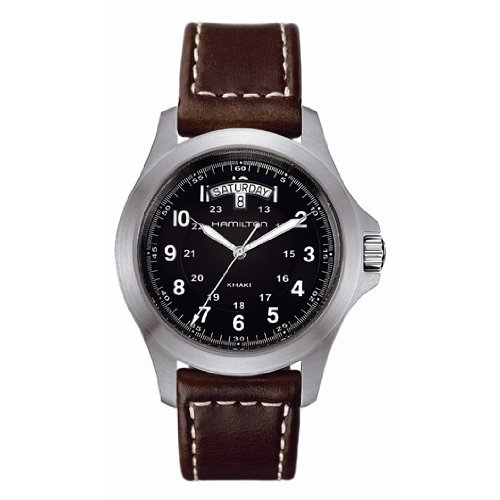Hamilton Khaki King Men's Brown Strap Black Dial Stainless Steel Watch H64451533