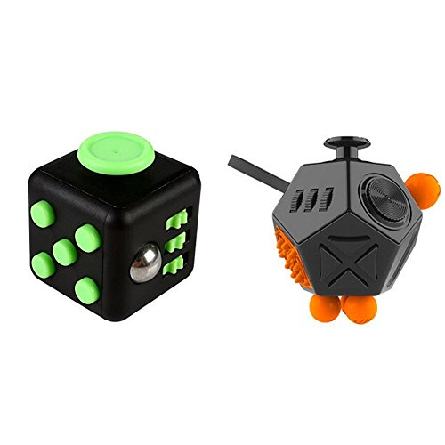 2 Pcs Fidget Dice II and Dice I 12 Sides Fidget Cube and Fidget cube - Stress Anxiety and Boredom Relief Weeambo Anti-anxiety and Depression Toys for Children and Adults (Black / black)
