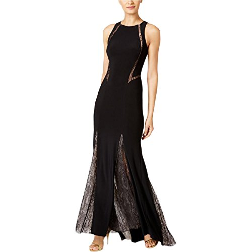 Xscape Womens Lace Trim Sleeveless Evening Dress Black 6