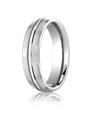 Mens Platinum, 6mm Comfort-Fit Satin Polished Center Cut Band (sz (Platinum Satin Comfort Fit Band)
