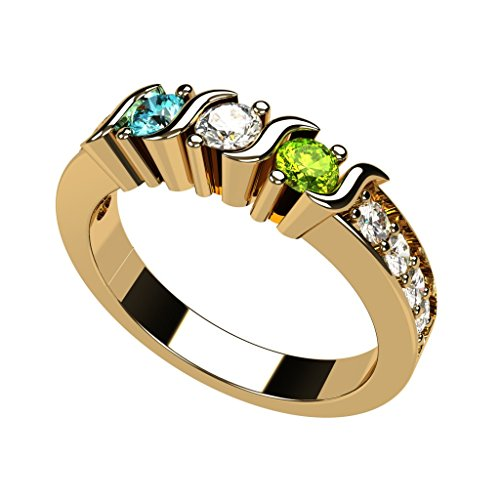 Central Diamond Center Nana S-Bar W/Sides Mother's Ring 1 to 6 Simulated Birthstones - 10k Yellow Gold - Size 6.5 ()