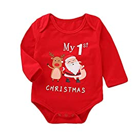 Kobay Christmas Universal Baby Romper Outfits Infant Baby Girls Boys Long Sleeve Letter Print Christmas Jumpsuit Clothe…