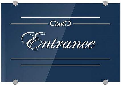 Entrance 5-Pack CGSignLab Classic Navy Premium Brushed Aluminum Sign 18x12