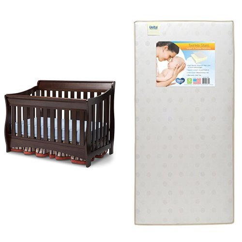 Delta Children Bentley S Series 4-in-1 Crib, Chocolate with Twinkle Stars Crib & Toddler Mattress
