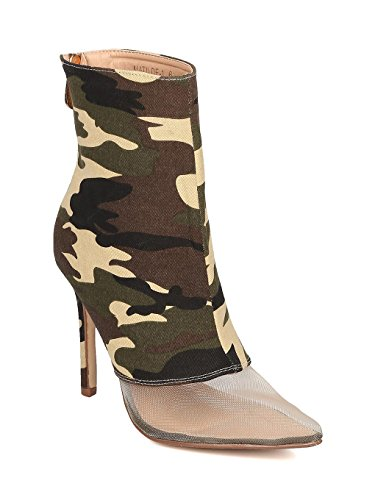sh Toe Ankle Boot - Stiletto Bootie - Mixed Fabric Heel Bootie - HK67, 6 B(M) US,Camouflage Denim ()