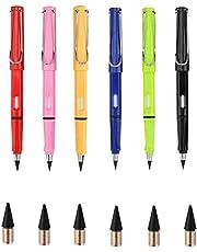 6pcs Everlasting Pencil, Everlasting Pencil Replaceable Head,Infinite Pencil,Inkless Pencils,Portable Everlasting Pencil Reusable Erasable,Unlimited Writing Eternal Pencil,Writing Tool Office Pen