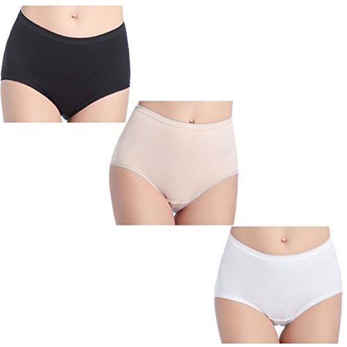 wirarpa Women's Cotton Underwear 3 Pack Soft Stretch Brief Panties Ladies High Waist Underpants Size 8, X-Large