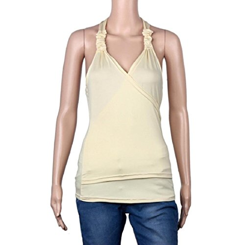 Tongshi chaleco del cordón de las mujeres del verano sin mangas del tanque ocasional de la blusa superior St-shirt Amarillo