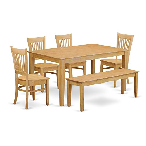 Genial East West Furniture CAVA6 OAK W 6 Piece Dining Table And 4 Dinette Chairs  Combined With A Wooden Bench Set For Sale