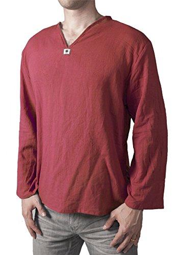 Lofbaz Men's V-Neck T-Shirt 100% Cotton Thai Hippie Shirt Yoga Top Red XL