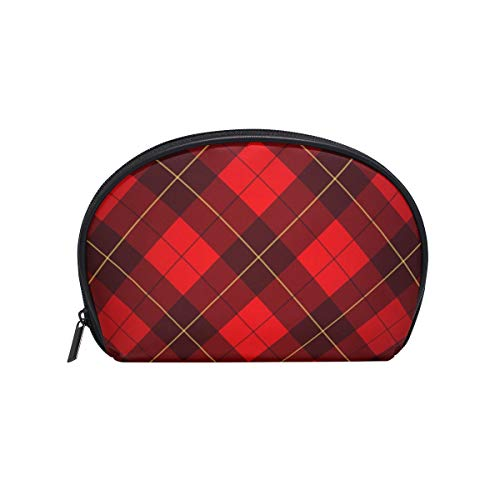 Senya Travel Cosmetic Bag Small Makeup Toiletry Bag Portable Carry Case Pouch Girls Women Personalized Organizer Tote Bag For Jewelry Toiletries Wallace Tartan Background Plaid