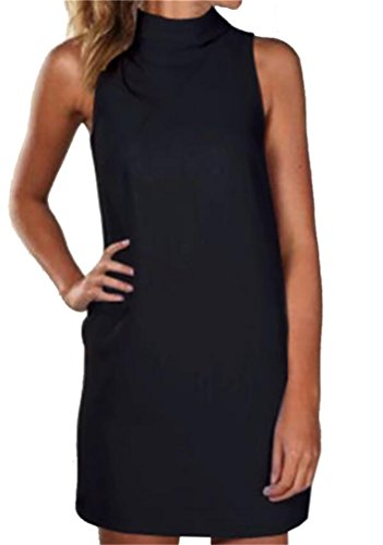 Mini Color Fit Black Sleeveless Womens Dress Slim Solid Tank Shift Domple wg6tq6