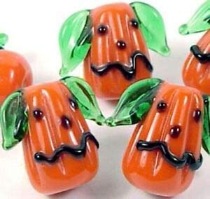 Lampwork Handmade Glass Halloween Pumpkin Beads 17x20mm (5) Spacer Beads and Roll Crystal String for Bracelets Jewelry -