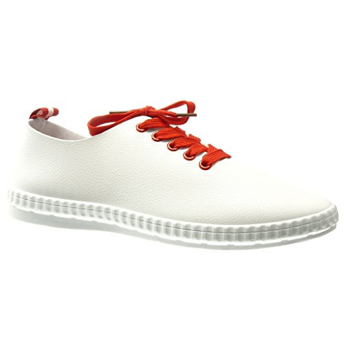 Angkorly - Chaussure Mode Baskets basse femme Talon plat 0 CM - Rouge