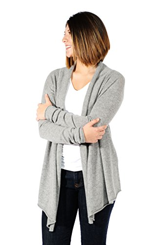 Gigi Reaume 100% Cashmere Womens Sweater, Open Front Cardigan, Shawl Collar Swing Style (Medium, Grey Heather) by Gigi Reaume