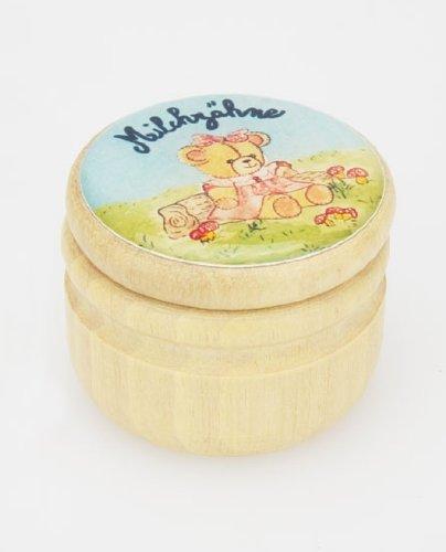 Milchzahndose rosa Bärenmotiv- Holzdose Milchzähne Gico