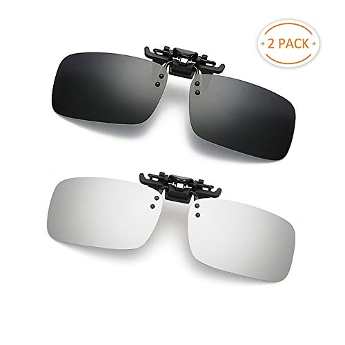 Clip-on Sunglasses 2 Pack Polarized Lens Unisex Frameless With Metal Flip Up For Driving, Outdoor Sports & Holidays (BLACK + SILVER)