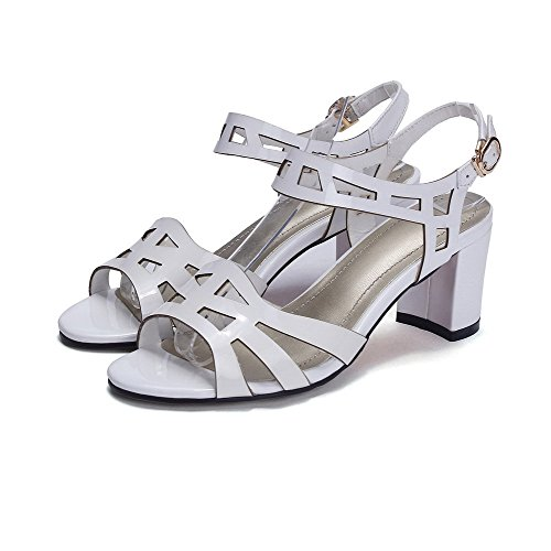 AalarDom Womens Kitten Heels Patent Leather Solid Buckle Open Toe Sandals White fCN7GVxu