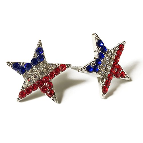 American Flag Crystal Stud Earring for Women for 4th of July