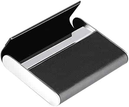 df5a7cccc802 MaxGear Business Card Holder Business Card Case Leather & Stainless Steel  Professional Name Card Holder with