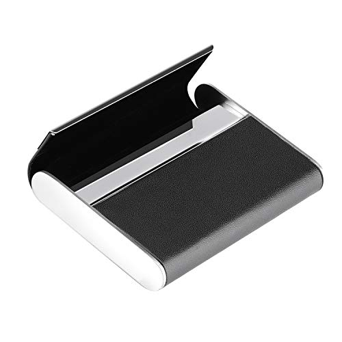 MaxGear Business Card Holder Business Card Case Leather & Stainless Steel Professional Name Card Holder with Magnetic Shut Black