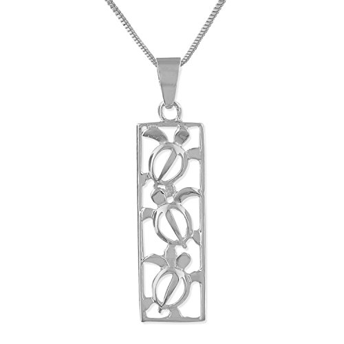 (Sterling Silver Turtle Vertical Bar Pendant Necklace, 16+2
