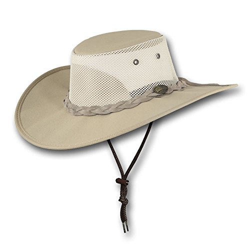 Barmah Hats Wide Brim Canvas Cooler Hat 1087 (Medium, Beige)