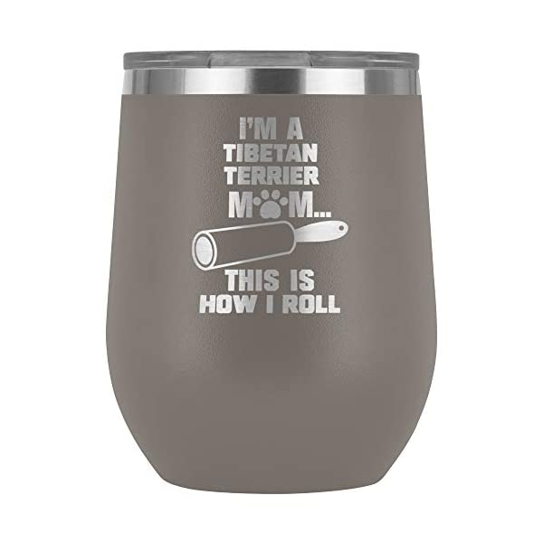 Funny Tibetan Terrier Gifts Wine Tumbler Glass Travel Cup Dog Mom Owner Lover Mama Birthday Present Idea Q-15R (Pewter) 1