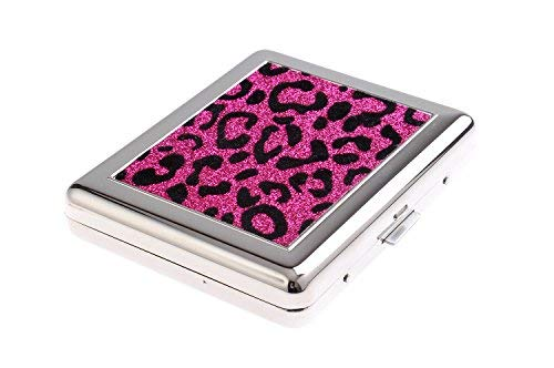 High-grade Stainless Steel Cigarette Case, with faux fur pattern inlay, holds 18 cigarettes, colour: rose/black, Mod. 767-01 (US)